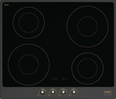 Plită încorporabilă cu inducție, Cortina, 60 cm, rama antracit, SmegSI764AOM