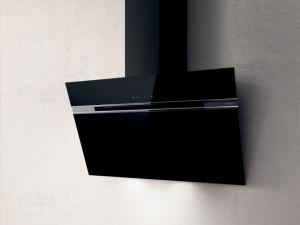 Hotă de perete, 90 cm, sticlă neagră, 757 mc/h, Elica STRIPE BL/A/90/LX