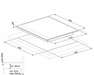 Plită încorporabilă cu inducție, Cortina, 60 cm, rama crem, Smeg SI764POM