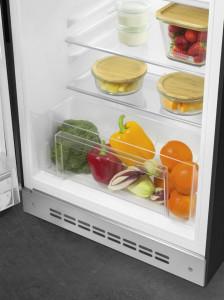Frigider cu 1 ușă, cu congelator, retro, 50's Style, 97 cm, 105/17 l, negru, balamale în stânga, SmegFAB10LBL5
