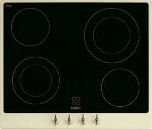 Plită încorporabilă vitroceramică, retro, Colonial, 60 cm, ramă crem, butoane alamă, Smeg P864PO
