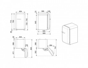 Frigider cu 1 ușă, retro, 50's Style, 73 cm, 34 l, portocaliu, balamale în dreapta, Smeg FAB5ROR5
