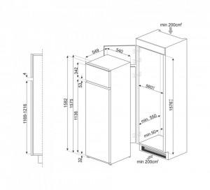 Frigider încorporabil cu 2 uși, cu congelator, 158 cm, 209/50 l, Smeg D4152F