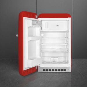 Frigider cu 1 ușă, cu congelator, retro, 50's Style, 97 cm, 105/17 l, roșu, balamale în stânga, Smeg FAB10LRD5