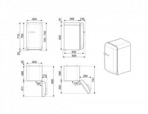 Frigider cu 1 ușă, retro, 50's Style, 40 cm, 73 l, roșu, balamale în dreapta, Smeg FAB5RRD5