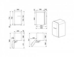 Frigider cu 1 ușă, retro, 50's Style, 73 cm, 34 l, smântână, balamale în stânga, Smeg FAB5LCR5