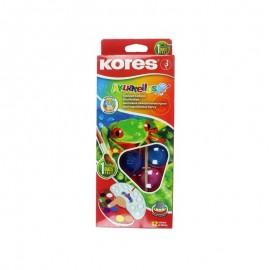 Acuarele 12 culori 30mm cu pensula, Kores Akuarellos