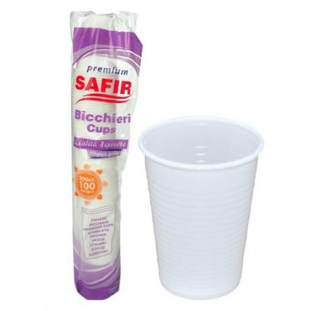 Pahare plastic Albe Safir Premium 200 ml, 100 buc/set