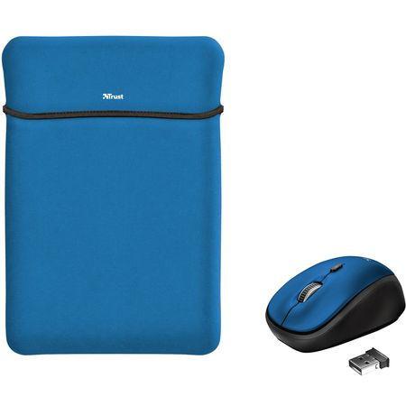 """Husa laptop 15.6"""" cu mouse wireless Trust Yvo, diverse culori"""