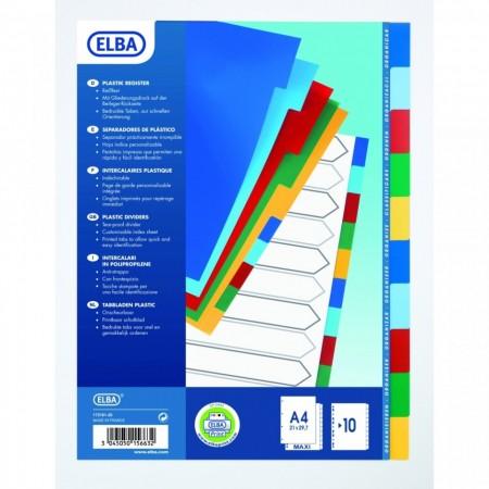 Separatoare plastic color, A4 XL, 120 microni, 10 culori/set, ELBA