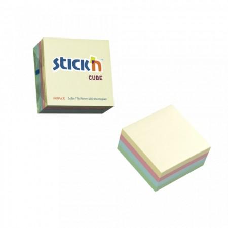 """Cub notes autoadeziv 76 x 76 mm, 400 file, Stick""""n - 4 culori pastel"""