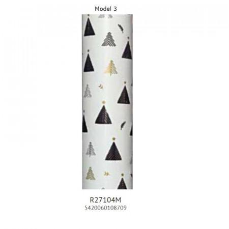 Hartie ambalaj metalizata, 70 x 150cm, 74g/mp, Shiny Trees Rotolux
