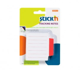 "Tracking notes 70 x70 mm, 50 file/set, Stick""n - alb liniate - tab magenta neon"