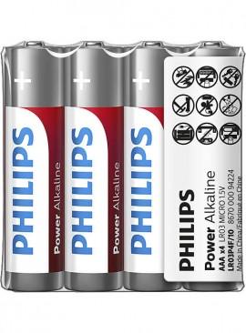 Baterii Philips Power Alkaline AAA 4buc/folie sticker LR03P4F/10