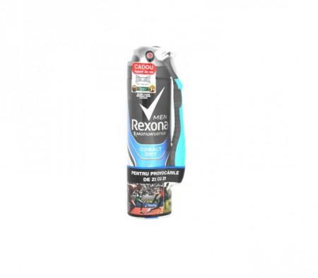 Deodorant antiperspirant Rexona Men Quantum + aparat de ras Cadou