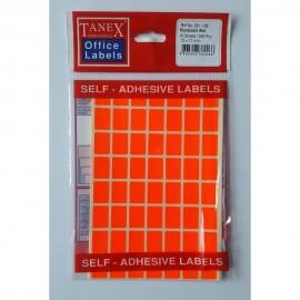 Etichete autoadezive color, 12 x 17 mm, 560 buc/set, Tanex - rosu fluorescent