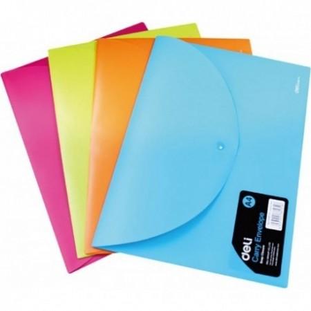 Mapa Plastic Cu Buton A4  Deli, Culori Neon