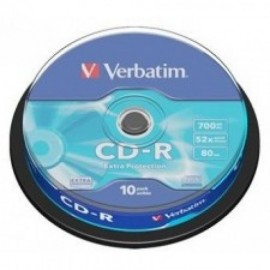 VERBATIM CD-R 52X 700MB SP10/PK EXTRA PROTECTION