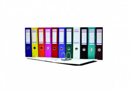 Biblioraft A4, plastifiat PP/paper, margine metalica, 50 mm, Optima Basic - alb
