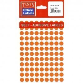 Etichete autoadezive color, D10 mm, 1080 buc/set, Tanex - 6 culori asortate