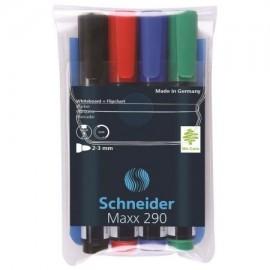 Marker whiteboard si flipchart Schneider Maxx 290, 4 buc/set