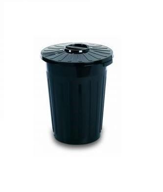 Pubela rotunda cu capac 60 L, Negru