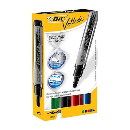 Whiteboard Marker BIC ECO Velleda 1704 Multicolor, varf 1-3 mm, 4 buc/set