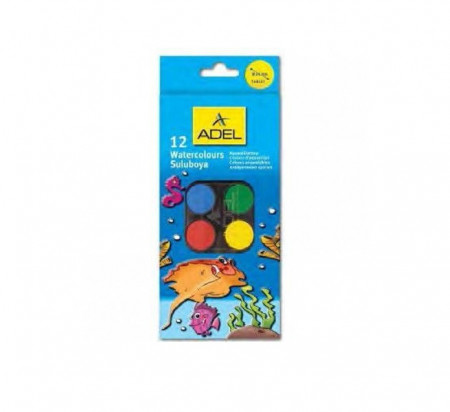 Acuarela 12 culori, 30 mm + pensula, ADEL