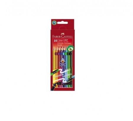 Creioane Colorate 10 Culori Cu Guma Grip 2001 Faber-Castell