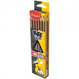 Creion cu guma Black' Peps Maped HB 12 buc/set