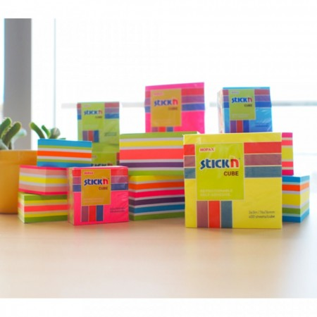 "Cub notes autoadeziv 51 x 51 mm, 250 file, Stick""n - neon/pastel Albastru"