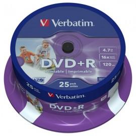 DVD+R VERBATIM 16x, 4.7GB, Printabil, 25buc - Spindle