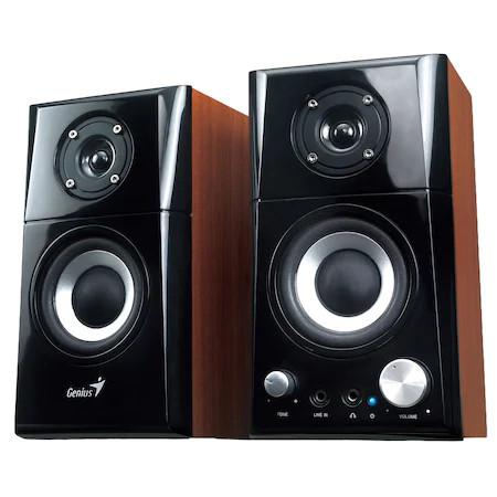 Sistem Boxe Genius SP-HF500A, 2.0, RMS: 14W, Black & Cherry Wood