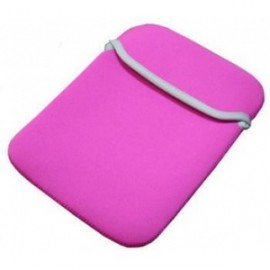 Husa Neopren Laptop -Tableta 10 inch reversibila roz/argintie