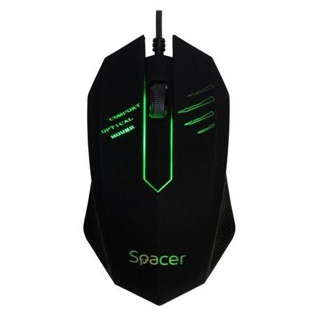 Mouse Optic Spacer 1000 Dpi, Iluminare led, Usb Negru