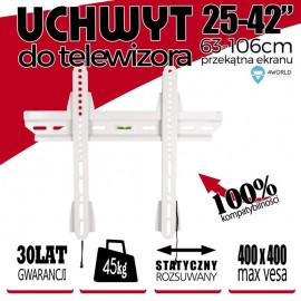 Suport TV-LCD 4World Slim 25 - 42'' max. 45kg Alb cu Nivelmetru