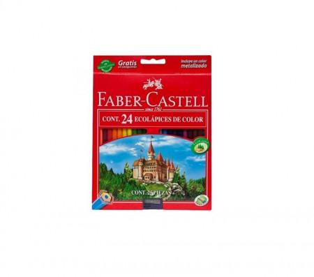 Creioane colorate 24 culori + ascutitoare Eco L Faber-Castell