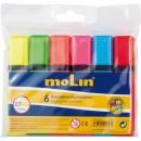Textmarker varf lat, 6 culori/set, MOLIN