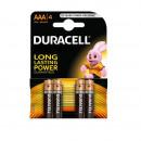 Baterii Alkaline Duracell AAA LR03/MN2400 long power 4buc/set