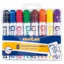 Marker whiteboard, varf rotund, corp plastic, 8 culori/set, MOLIN