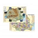 Plansa ROMANIA Fizica/ Administrativa A4, plastifiata