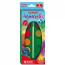 Acuarele 12 culori/cutie + 1 pensula watercolor Alpino