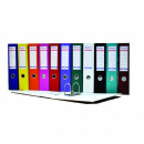 Biblioraft A4, plastifiat PP/paper, margine metalica, 75 mm, Optima Basic - visiniu