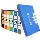 Container de arhivare cu capac detasabil, pentru 6 bibliorafturi, 490gsm, DONAU - albastru/alb