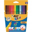 Markere- carioca Bic Visa colorate, Lavabile, 12 buc/set