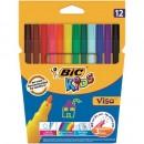 Markere- carioca Bic Visa colorate, Lavabile, 12 buc/set