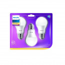Set 3 becuri LED Philips, E27, 9W (60W), 806 lm, A+, lumina calda