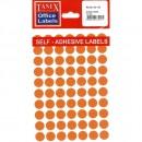 Etichete autoadezive color, D13 mm, 700 buc/set, Tanex - 5 culori asortate