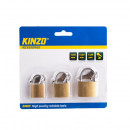 Set 3 lacate cu chei Kinzo, 25/30/40 mm, alama, Auriu