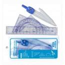 Trusa geometrie din plastic transparent Deli 9598